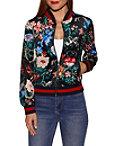 Velvet Floral Print Bomber Jacket Photo