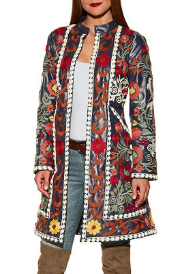 Vegan leather floral embroidered trench