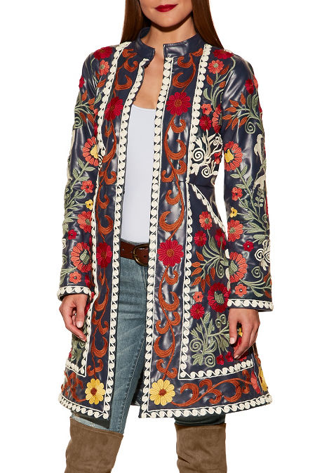 Vegan leather floral embroidered trench image