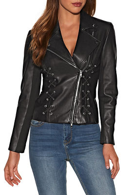 Display product reviews for Vegan leather lace up moto jacket