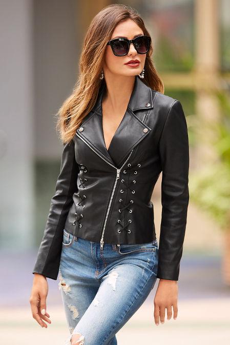 Vegan leather lace up moto jacket image