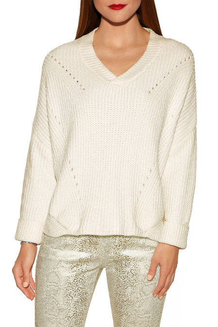 V-neck slouchy chenille sweater image