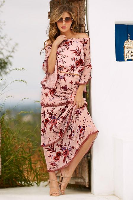 Floral burnout off-the-shoulder top image