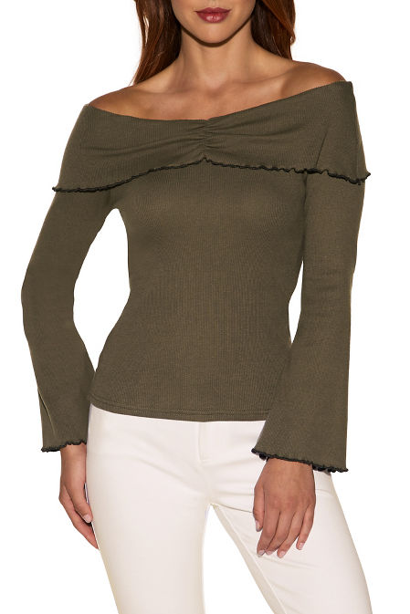 Off-the-shoulder ruffle trim ribbed top image