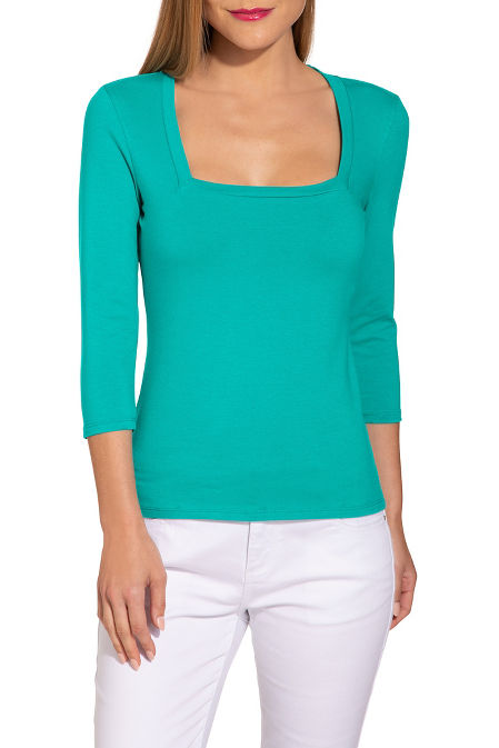 So sexy? three-quarter sleeve square-neck top image