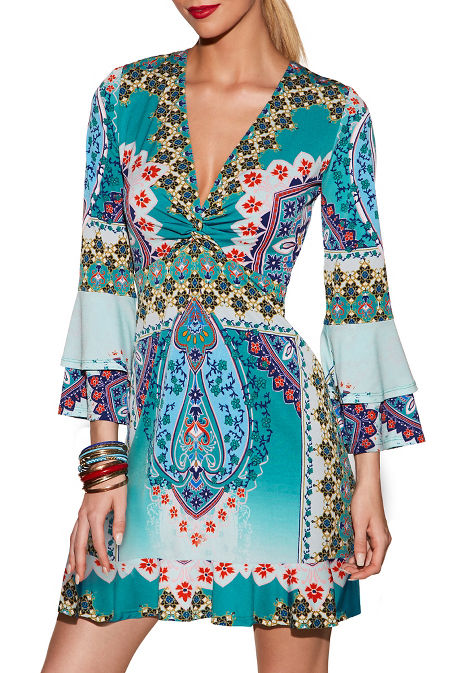 Printed twist front dress image