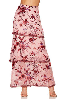 Floral burnout maxi skirt