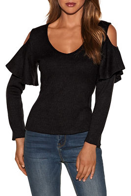 Cold shoulder ruffle long sleeve ribbed top 2884420400