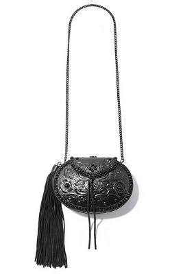 Structured tassel crossbody bag.