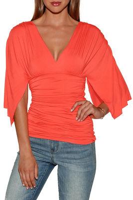 Kimono sleeve v-neck top