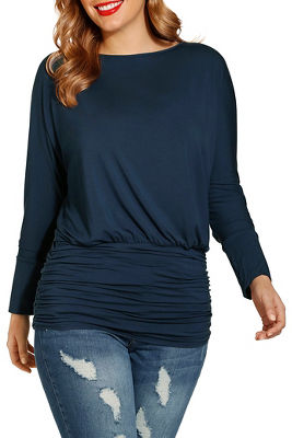 Wide neck blouson top