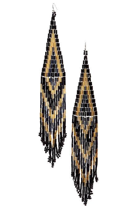 Beaded fringe chandelier earrings image