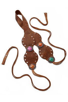 Leather jewel tie belt
