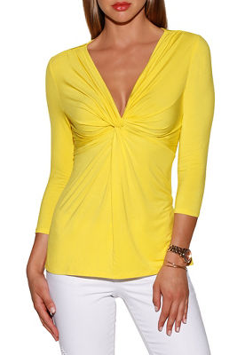Knot babydoll three-quarter sleeve top