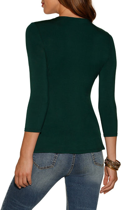 Knot babydoll three-quarter sleeve top image