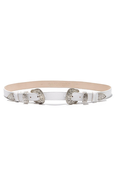White double buckle belt image