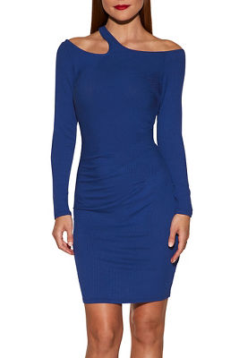 Cutout solid ribbed dress