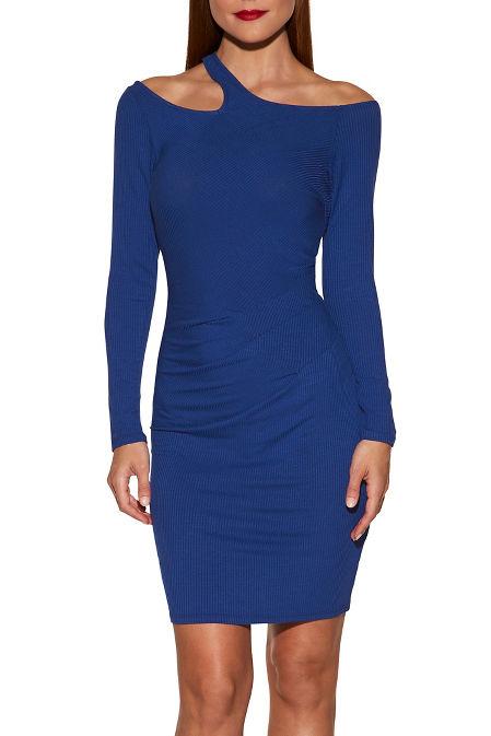 Cutout solid ribbed dress image