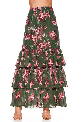 Display product reviews for Floral tiered maxi skirt