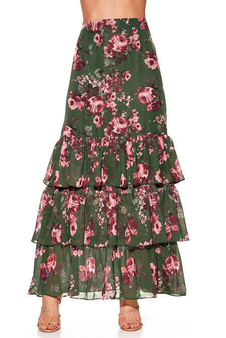 Floral tiered maxi skirt image