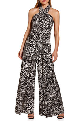Animal wide leg halter jumpsuit