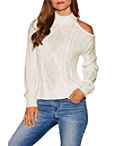 Asymmetric Cold Shoulder Cable Sweater Photo