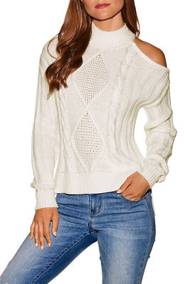 Asymmetric cold shoulder cable sweater