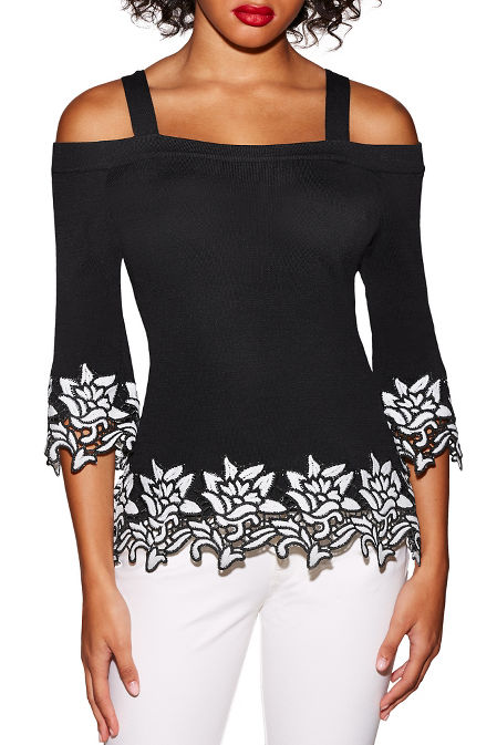 Colorblock lace cold shoulder sweater image