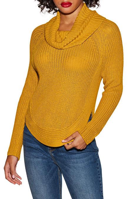 Cowl neck long sleeve sweater image