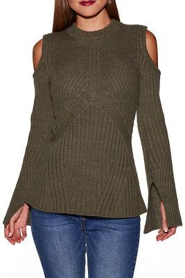 Cold shoulder ribbed detail A line sweater