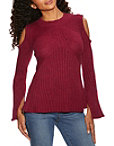 Cold Shoulder Ribbed Detail A Line Sweater Photo