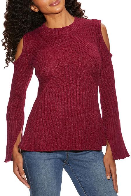 Cold shoulder ribbed detail A line sweater image