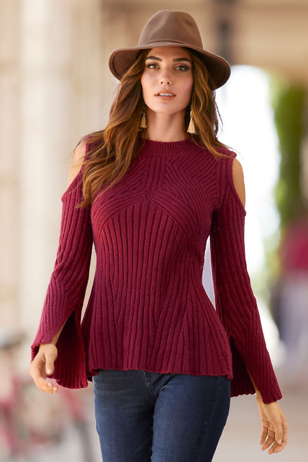 Cold shoulder ribbed detail A line sweater image