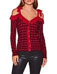 Cold Shoulder Tie Sleeve Plaid Sweater Photo