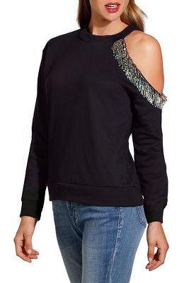 Embellished one shoulder sweatshirt