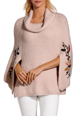 Embroidered cowl neck poncho