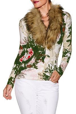 Floral print faux fur cardigan