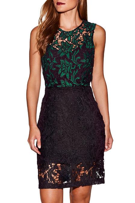 Green lace sheath dress image