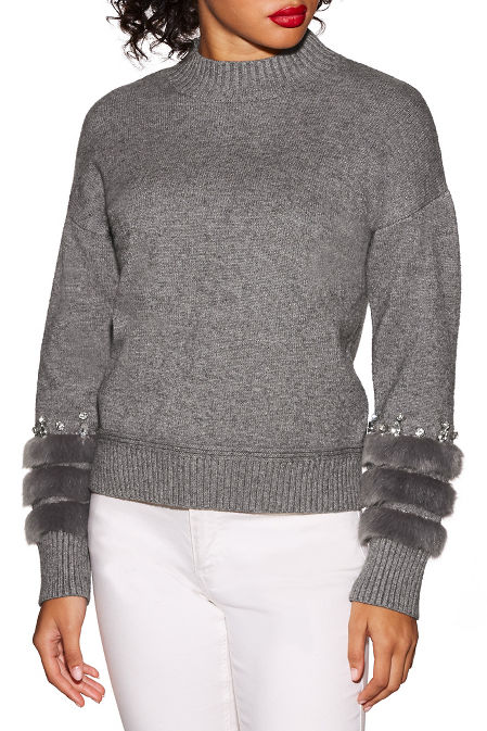 Jeweled faux fur sleeve sweater image