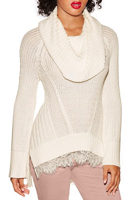 Lace cowl neck cable sweater