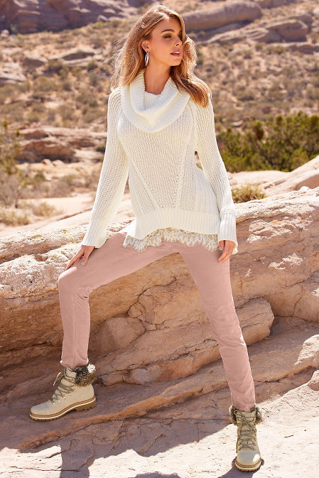Lace cowl neck cable sweater image