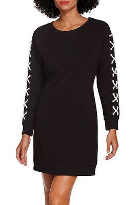 Lace up sleeve sweatshirt dress