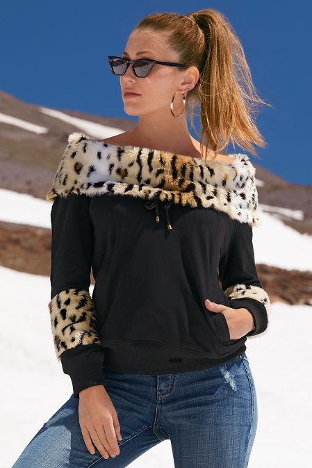 Leopard faux fur sweatshirt image
