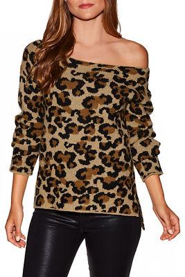 Leopard print boat neck sweater