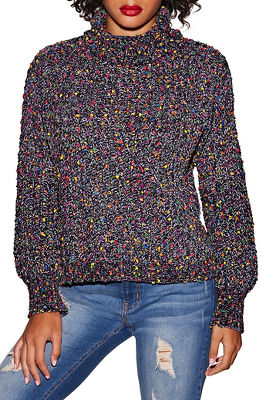 multicolor chenille turtleneck sweater
