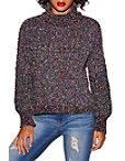 Multicolor Chenille Turtleneck Sweater Photo