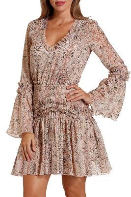 Paisley ruffle smocked dress