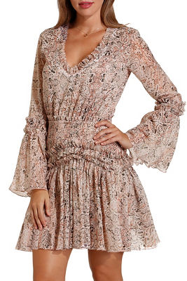 Paisley ruffle smocked dress