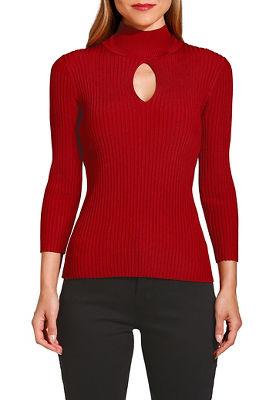 ribbed keyhole mock neck sweater