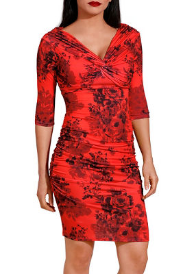 Red printed ruched dress